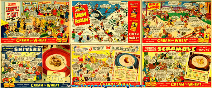 (6) Very Colorful 1940's Comic Strip Cream Of Wheat Cereal Advertisements