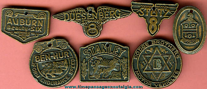 (7) Old Metal Antique Auto Charms