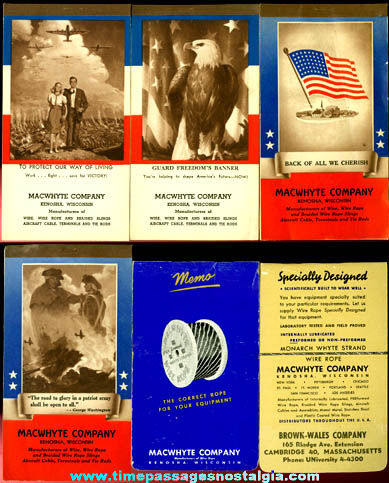 (4) World War II Homefront Patriotic Calendar Booklets & (2) 1950's Advertising Memo Books
