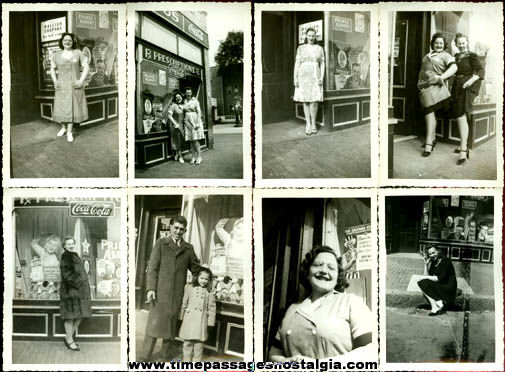 (8) WWII Era Drug Store Front / Exterior Photographs With Advertising