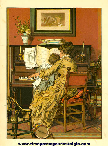 Old Colorful & Detailed Pianist & Child Print