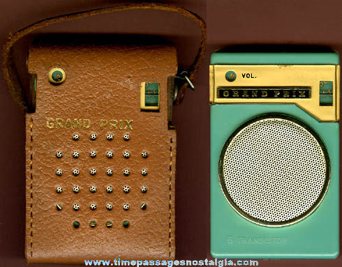 Old Grand Prix 6 Transistor Radio With Leather Case