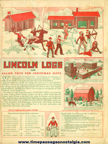 Large Old Lincoln Logs Advertisement & Order Form