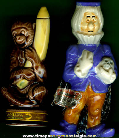 (2) Small Character Figure Liqueur Bottles