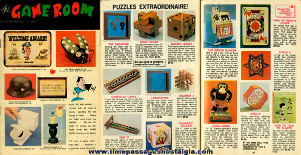Early 1970's (48) Page The Game Room Novelty / Gift Catalog