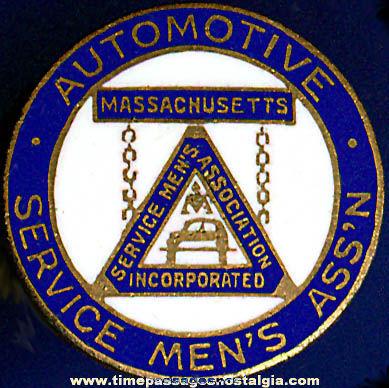 Old Enameled Automotive Service Men's Association Stud Lapel Button