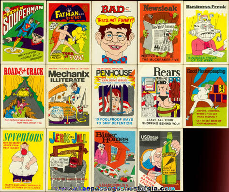 (14) Different 1973 - 1974 Fleer Bubble Gum Crazy Magazine Cover Stickers / Trading Cards