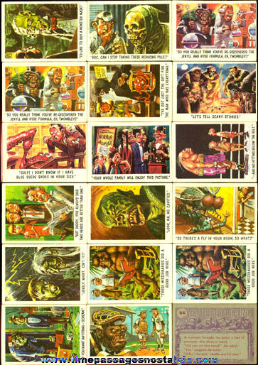 (18) 1959 Bubbles, Inc. Funny Monsters / Youll Die Laughing Bubble Gum Trading Cards