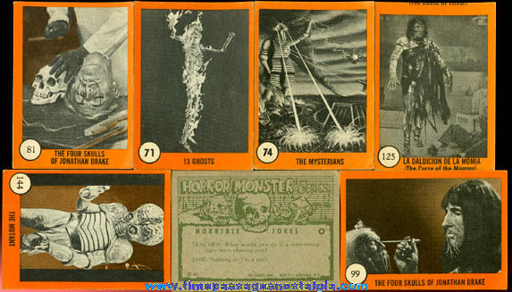 (7) 1961 Nu-Cards, Inc. Horror Monsters Series Bubble Gum Trading Cards