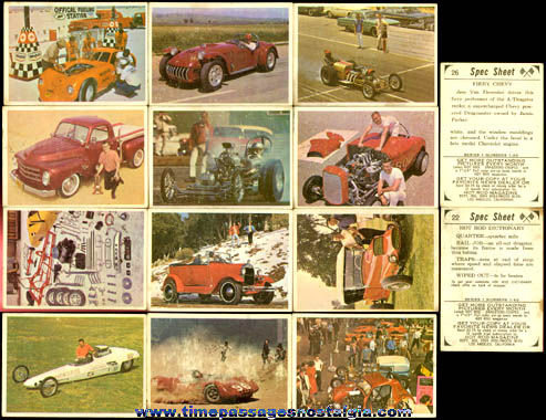 (12) 1965 Donruss Hot Rod Magazine Spec Sheet Trading Cards
