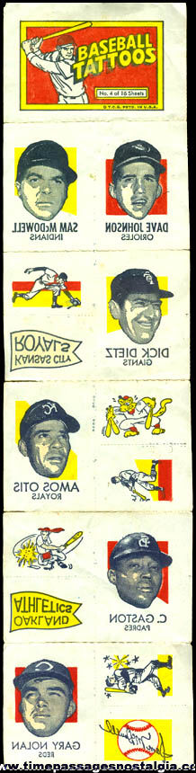 Complete 1971 Topps Baseball Tattoos Sheet