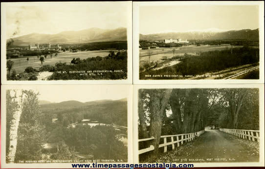 (4) Different Old Unused White Mountains, New Hampshire Real Photo Post Cards