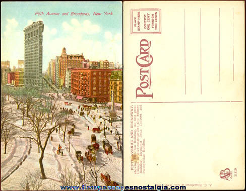 Colorful Old Fifth Avenue & Broadway New York City Post Card