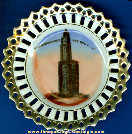 Old Woolworth Building New York City Souvenir China Plate