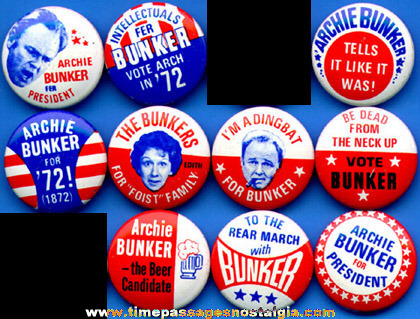 (10) different 1972 Archie Bunker Political Pin Back Buttons