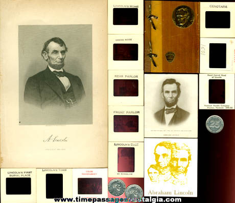 (18) Small Old President Abraham Lincoln Related Items