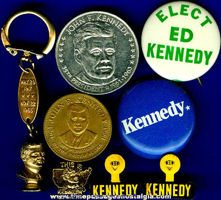 (8) Old Kennedy Political & Memorial Items