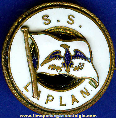 Old Enameled Brass S.S. Lapland Pin