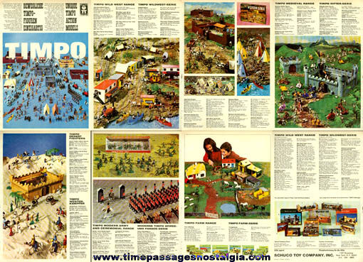 (8) 1970's Timpo Playset Trade Publication Pages