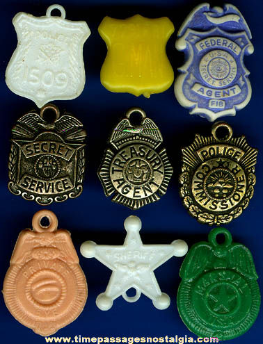 (9) Different Old Police Badge Gumball Machine Prize Charms