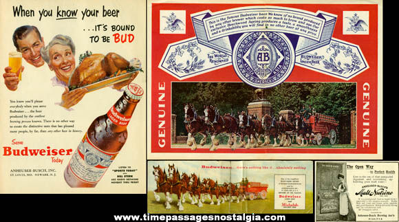 (5) Old Budweiser Beer Advertising Items