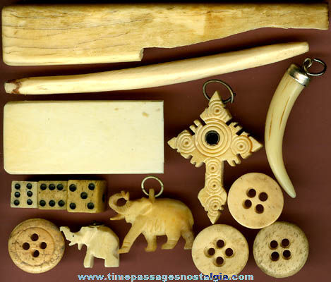 (14) Small Old Carved Bone Or Ivory Items
