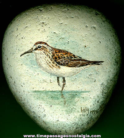Signed & Dated 1976 Bird Painting On Stone