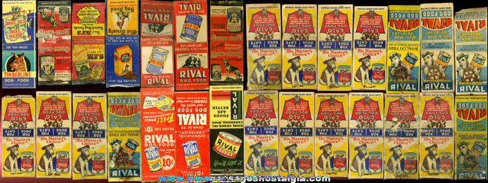(28) Old Dog Food Advertising Match Book Covers