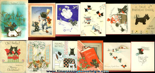 (12) Different Old Scottie Dog Greeting Cards