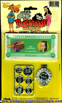 (2) Unopened Bullwinkle & Rocky Play Money Packages
