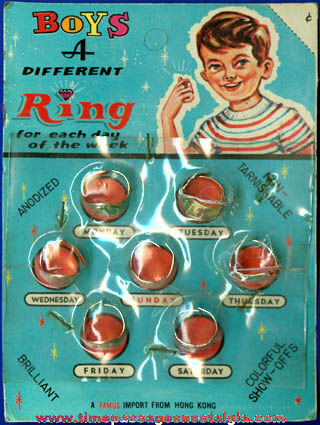 Old Unopened Package Of (7) Boys Toy Rings