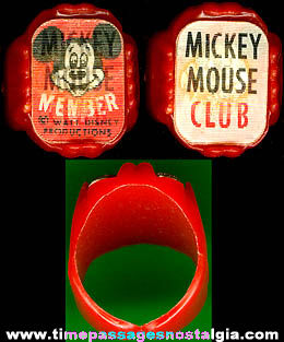 Old Walt Disney Mickey Mouse Club Flicker Toy Ring