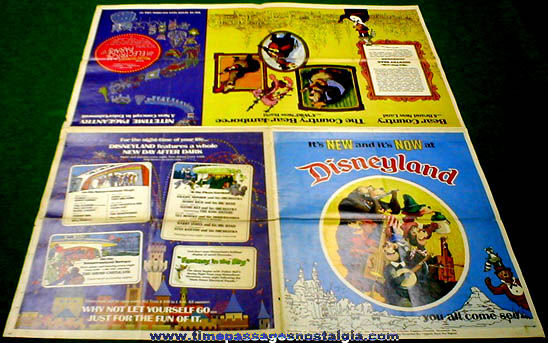 Old Disneyland Advertising Newspaper Supplement Map