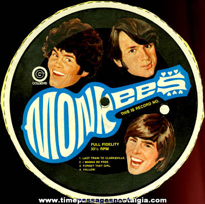 1960's Monkees Cereal Box Back Record