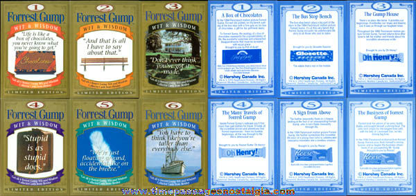 Set Of (6) ©1995 Limited Edition Forest Gump Candy Trading Cards