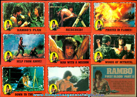 (22) �1985 RAMBO First Blood Part II Bubble Gum Trading Cards