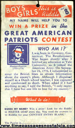 Old Master Loaf Bread Great American Patriots Contest Sheet