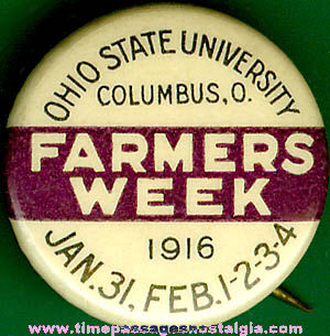 1916 Celluloid Ohio State University Farmers Week Pin Back Button