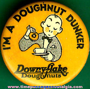 Old Celluloid Downyflake Doughnuts Advertising Pin Back Button