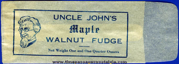 (20) Old Unused Uncle John's Maple Walnut Fudge Candy Wrappers