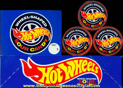 (3) Unopened ©1992 Hot Wheels Candy Packages & Display Box