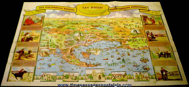 Colorful �1935 California Pacific International Exhibition Two Sided Map