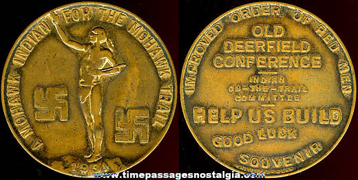 1931 Mohawk Trail Advertising Good Luck Token Medal Coin