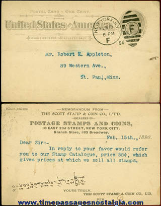 1896 Scott Stamp & Coin Company Stamped Business Post Card