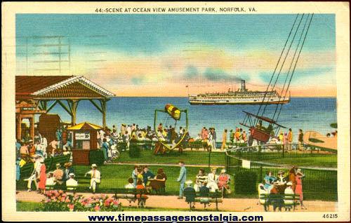 1950 Norfolk, Va. Ocean View Amusement Park Color Post Card