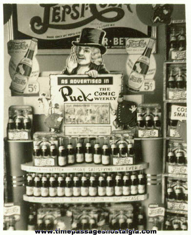 (5) Small Old Pepsi Cola & Puck - The Comic Weekly Advertising Display Photographs