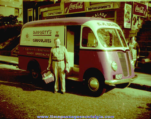 1942 Daggetts Chocolates Delivery Truck & Driver Photo Negative With Bonus