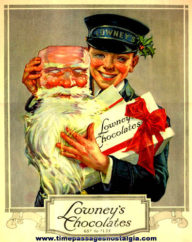 Large Colorful Old Lowney Chocolates Holiday Advertisement