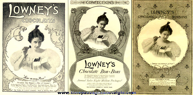 (3) Early Lowney's Candy Advertisements