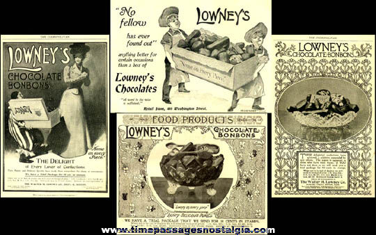 (4) Early Lowney's Candy Advertisements